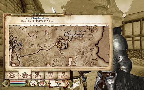 地図につるはしマークのポイントが追加されている。よし、Cheydinhal西門から向かおう