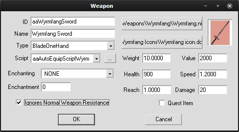 CSで見たWyrmfang Swordの能力値