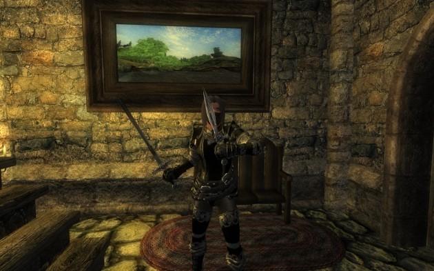Wrymfang Sword/Deffensive Dagger装備時(Block時)の構え(正面から)