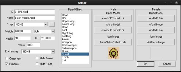 Black Pearl Shieldの能力値をConstruction Setで見た際のスクリーンショット