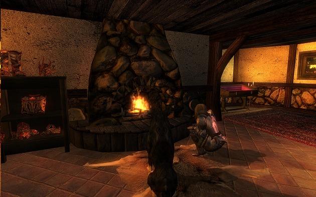 Sunset Isleの住居で暖を取るFredrikとWanko