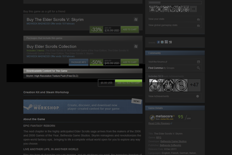 Skyrim: High Resolution Texture Pack (Free DLC) available on Steam