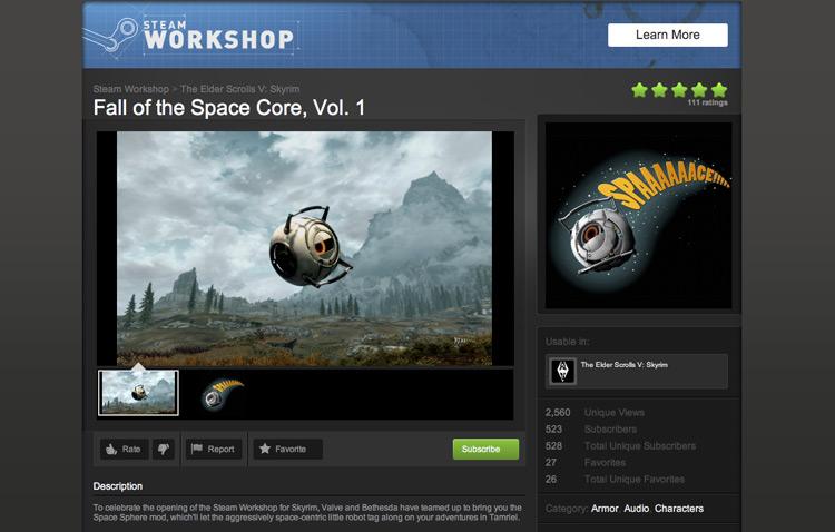 Steam Workshop、Skyrimカテのこけら落としとなった、「Portal 2」とのコラボレーションMod