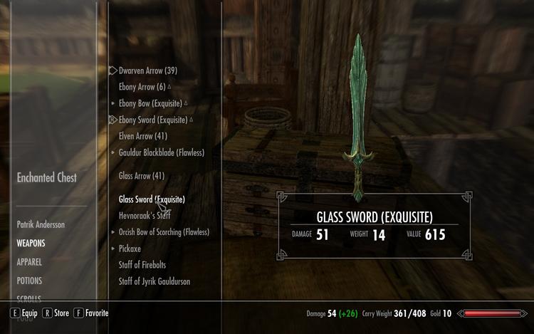 試しにアイテムを放り込んでみる、今回はGlass Swordを入れてみた。