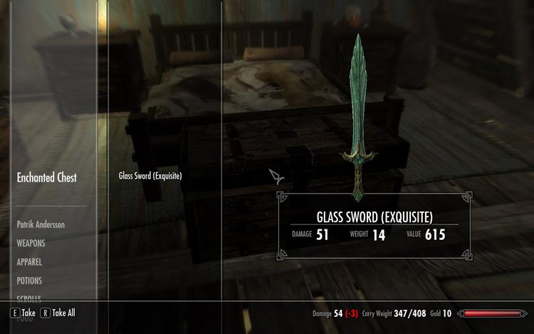 RiftenのHoneysideのEnchanted Chestに入れたGlass Swordはこちらでもアクセスすることができた。
