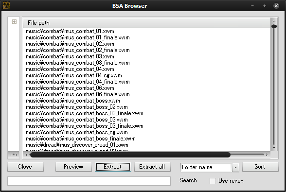 FOMMのBSA Browser機能を用い、「Skyrim - Sounds.bsa」の構成を見ているところ