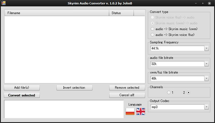 Skyrim Audio Converterのメイン画面