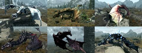 Deadly Dragonsによって追加される多様な外観のDragonたち。画像はNexusのScreenshotをまとめたもの。