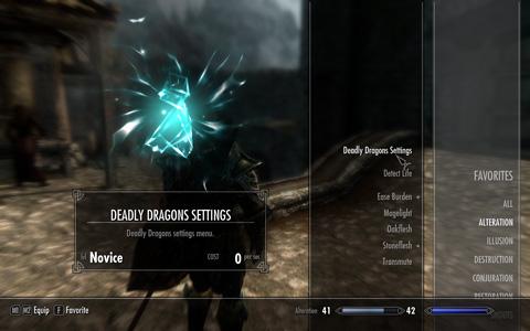 """設定はAlteration(変性)魔法に分類される""""Deadly Dragons Settings""""という魔法からいつでも行える"""