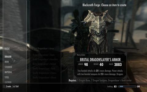 Dragonとの戦闘で手に入る戦利品は、Dragonとの戦闘で効果を発揮するであろうarmor setをcraftすることに活用できる