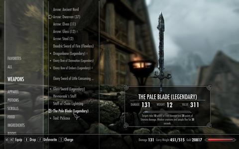 Pale BladeのUpgrade前のインベントリ上のStats