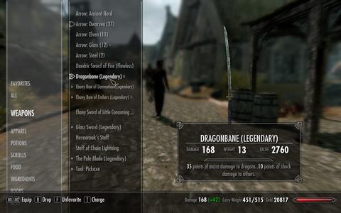 DragonbaneのUpgrade前のインベントリ上のStats