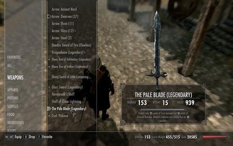 The Pale Blade、upgrade後のインベントリ上のstats