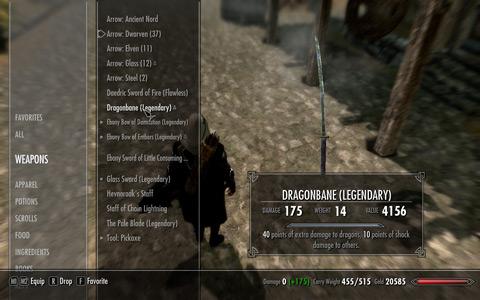 Dragonbane、upgrade後のインベントリ上のstats