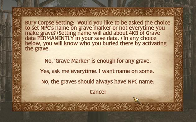 Modを導入して初めてセーブデータをロードすると、墓標につける名前(照準を合わせた際に表示されるもの)の設定ダイアログが表示される。