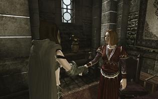 商工会議所のMelissaeiaさんと握手するplayer