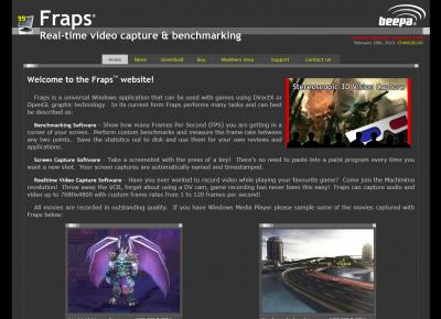 オブリのスクリーンショット撮影の定番ソフト(フリーウェア)、Frapsのホームページのスクリーンショット