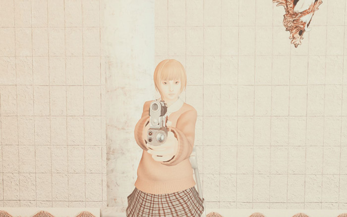 Tsubaki、Hentais Lovely Houseにて銃をかまえて