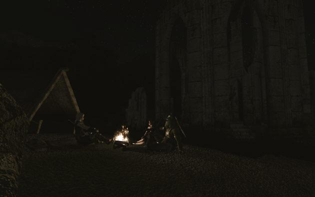 夜、野営するPT